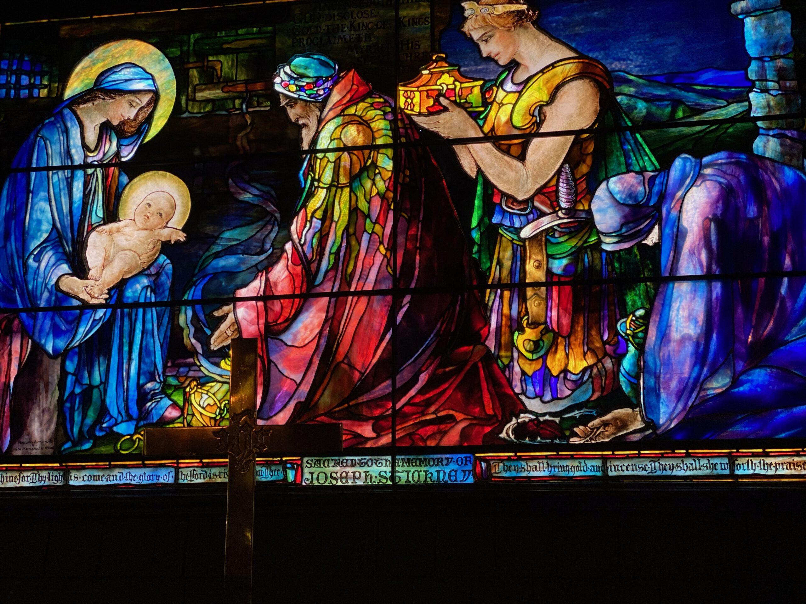 Stained glass Jekyll Isl baby Jesus